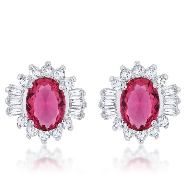 Chrisalee 3.3ct Ruby CZ Rhodium Classic Stud Earrings - E50179R-C17
