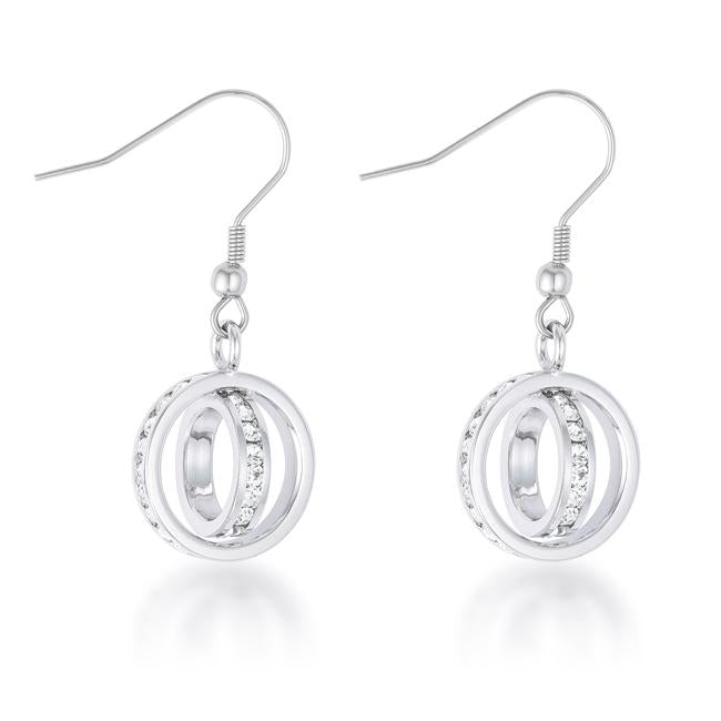 Tera 1.25ct CZ Rhodium Double Ring Drop Earrings - E50181R-C01