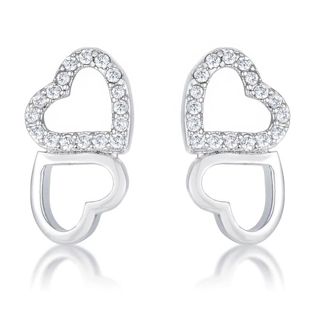 Melded Hearts Rhodium and CZ Stud Earrings .17 Ct - E50186R-C01