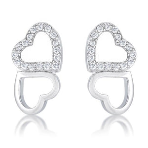 .17 Ct Melded Hearts Rhodium and CZ Stud Earrings - E50186R-C01