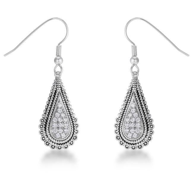 Tear Drop Rhodium Earrings with CZ .45 Ct - E50189R-V01
