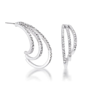 Rhodium Plated Contemporary Clear Crystal Earring - E50191R-C01