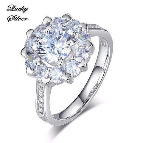 1 Carat Floral Halo Pave Solid 925 Sterling Silver Bridal Wedding Engagement Ring LS CFR8265