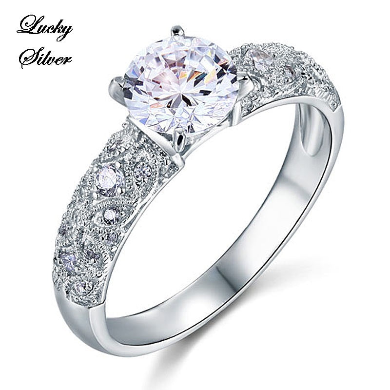 1 Carat Vintage Cut Solid 925 Sterling Silver Bridal Wedding Engagement Ring Set - LS CFR8108