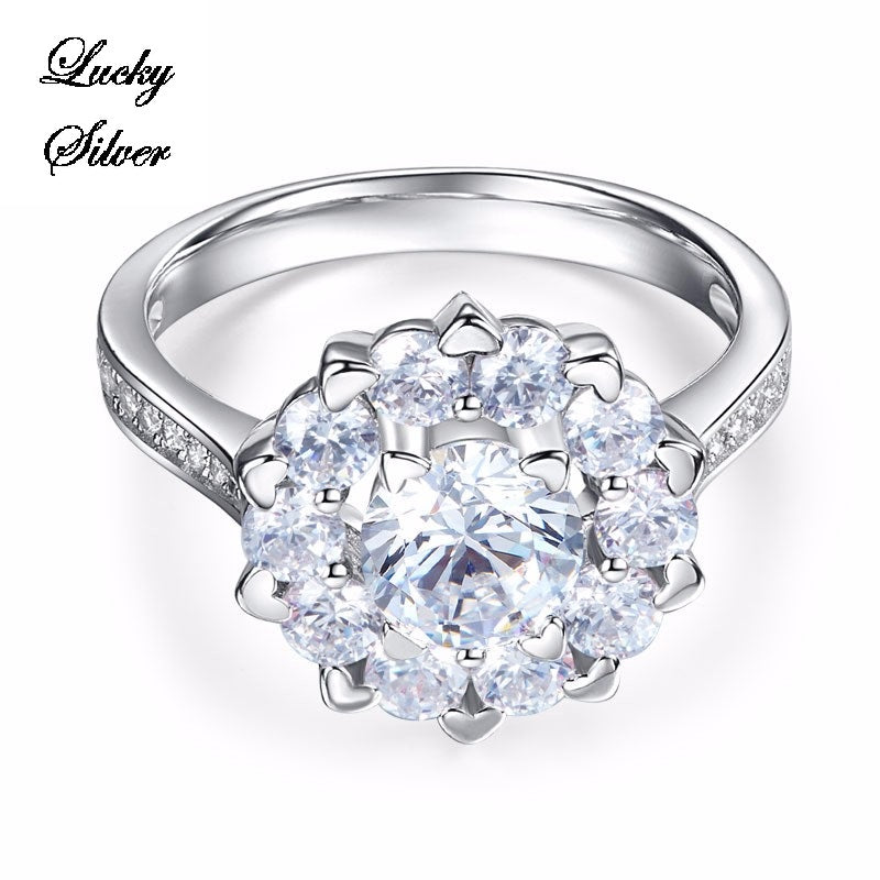 1 Carat Floral Halo Pave Solid 925 Sterling Silver