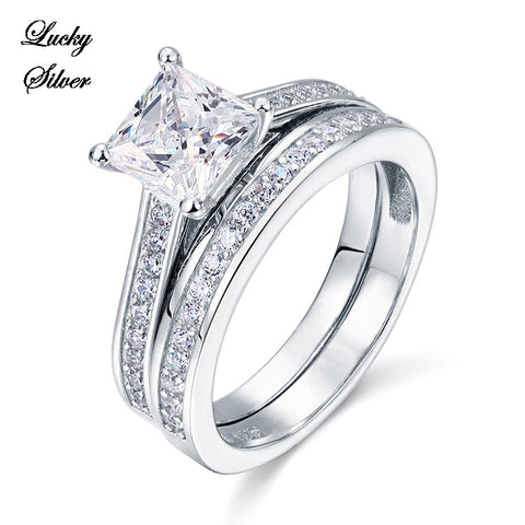 1.5 Carat Princess Cut Solid 925 Sterling Silver Bridal Wedding Engagement Ring Set - LS CFR8009S