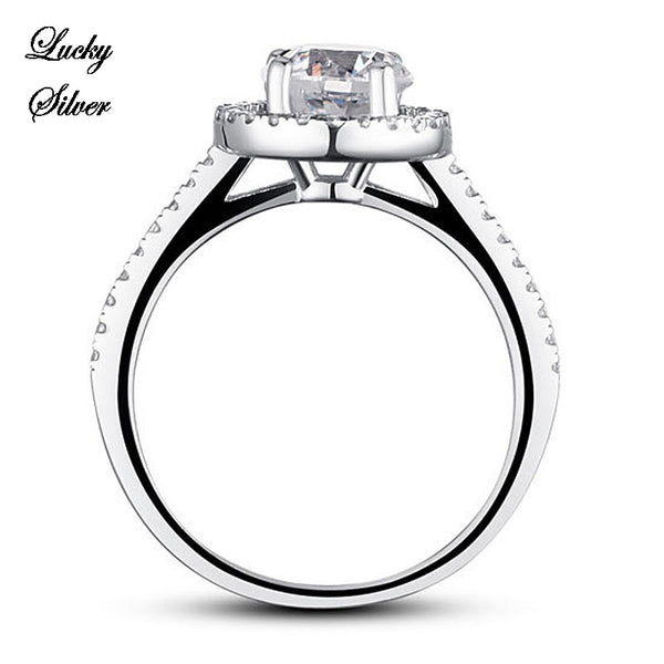 1.25 Carat Halo Solid 925 Sterling Silver Bridal Wedding Engagement Ring LS CFR8003