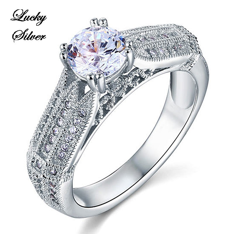 1 Carat Vintage Style Solid 925 Sterling Silver Bridal Wedding Engagement Ring Set - LS CFR8109