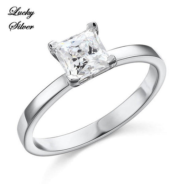 1 Carat Princess Cut Solid 925 Sterling Silver Bridal Wedding Engagement Ring Set - LS CFR8025