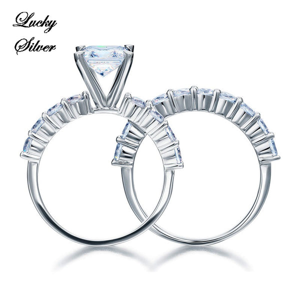 Solid 925 Sterling Silver Bridal Wedding Engagement Ring Set - LS CFR8135