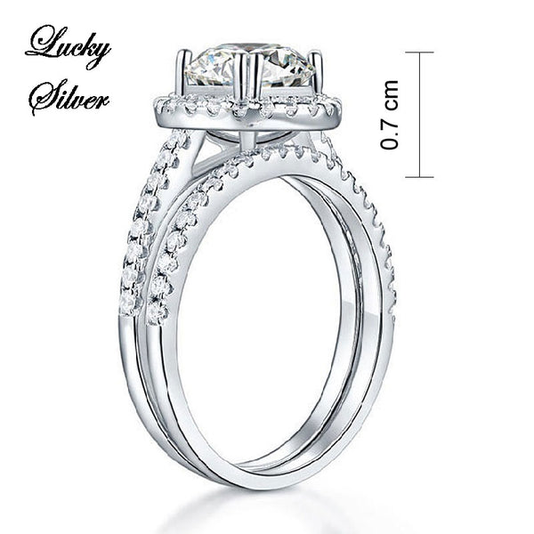 2 Carat Halo Ring Solid 925 Sterling Silver Bridal Wedding Engagement Ring Set - LS CFR8218