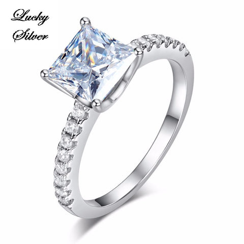 1.5 Carat Princess Cut Micropave Solid 925 Sterling Silver Bridal Wedding Engagement Ring LS CFR8247