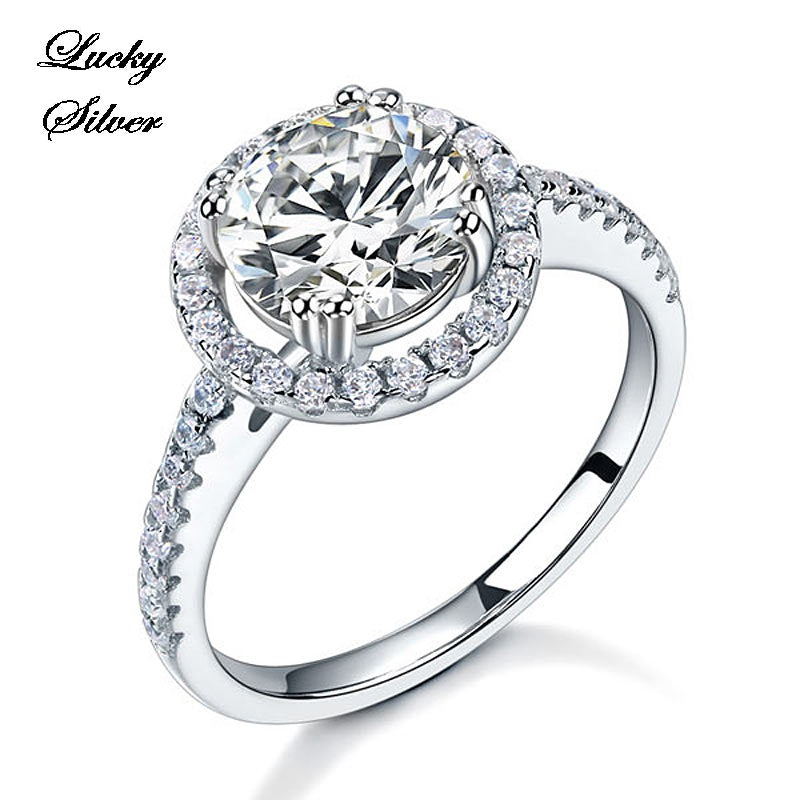 2 Carat Halo Solid 925 Sterling Silver Bridal Wedding Engagement Ring Set - LS CFR8199