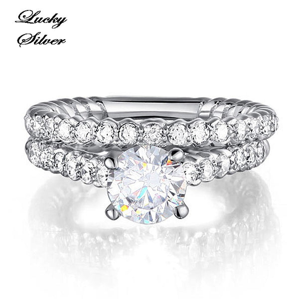 1 Carat Round Cut Solid 925 Sterling Silver Bridal Wedding Engagement Ring Set - LS CFR8010
