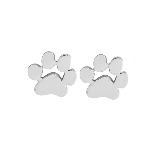 Silver Designer Dog Paw Earrings