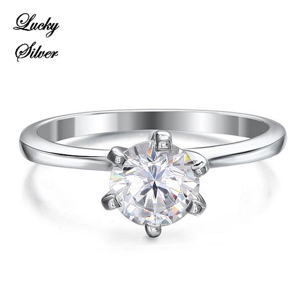 1 Carat Solid 925 Sterling Silver Bridal Wedding Engagement Ring Set - LS CFR8027