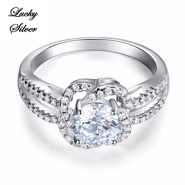 1 Carat Floral Solid 925 Sterling Silver Bridal Wedding Engagement Ring LS CFR8251