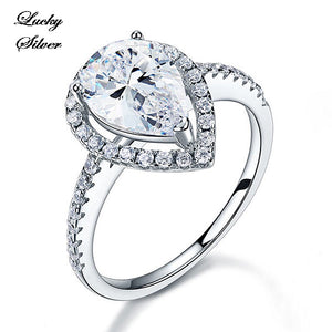 2 Carat Pear Cut Solid 925 Sterling Silver Bridal Wedding Engagement Ring LS CFR8221