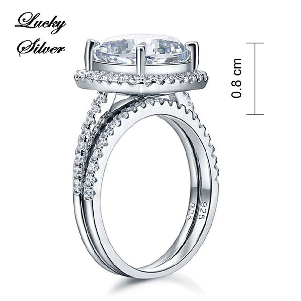 5 Carat Cushion Cut Solid 925 Sterling Silver Bridal Wedding Engagement Ring Set - LS CFR8205