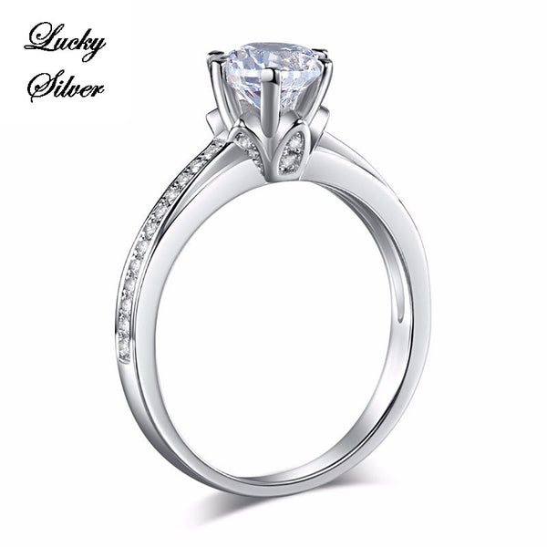 1.25 Carat 6 Claws Solid 925 Sterling Silver Bridal Wedding Engagement Ring Set - LS CFR8257