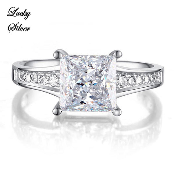 1.5 Carat Princess Cut Solid 925 Sterling Silver Bridal Wedding Engagement Ring LS CFR8006