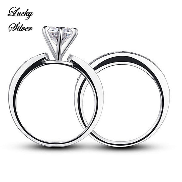 1 Carat Round Solid 925 Sterling Silver Bridal Wedding Engagement Ring Set - LS CFR8014