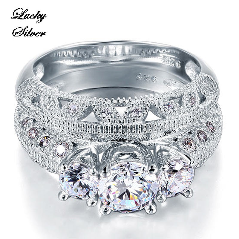 1 Carat Vintage Style Victorian Art Deco Solid 925 Sterling Silver Bridal Wedding Engagement Ring Set - LS CFR8100