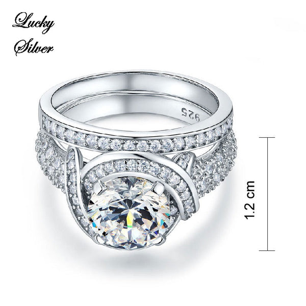 2 Carat Vintage Style Solid 925 Sterling Silver Bridal Wedding Engagement Ring Set - LS CFR8239