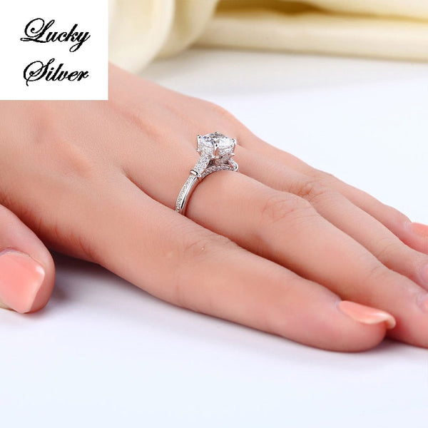 Solid 925 Sterling Silver Bridal Wedding Engagement Ring LS CFR8118