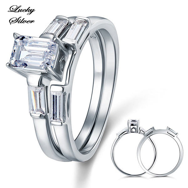 1 Carat Solid 925 Sterling Silver Bridal Wedding Engagement Ring Set - LS CFR8029