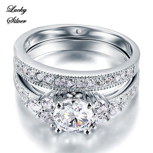 1 Carat Vintage Style Solid 925 Sterling Silver Bridal Wedding Engagement Ring Set - LS CFR8102