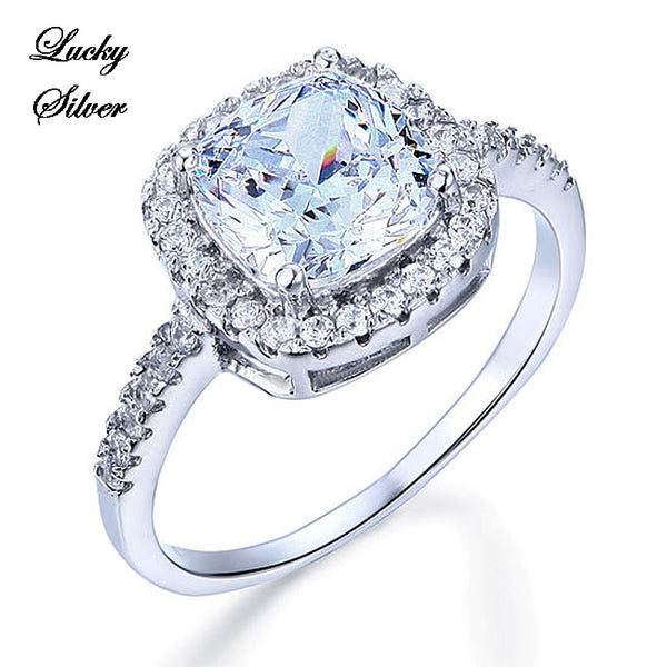 3 Carat Cushion Cut Solid 925 Sterling Silver Bridal Wedding Engagement Ring Set - LS CFR8138
