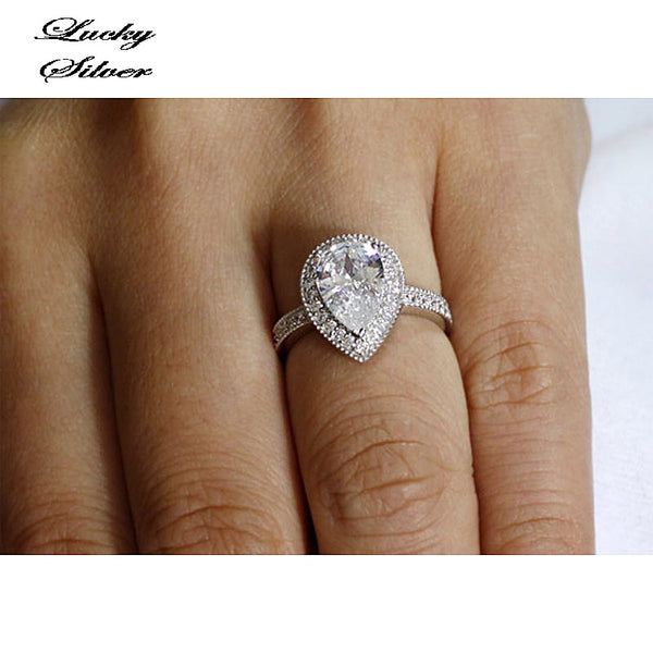 2 Carat Pear Cut Solid 925 Sterling Silver Bridal Wedding Engagement Ring LS CFR8097