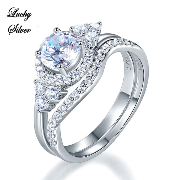 1 Carat Art Deco Solid 925 Sterling Silver Bridal Wedding Engagement Ring Set - LS CFR8269
