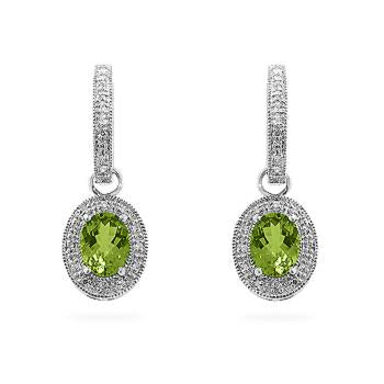 Peridot Dangles in White Gold - IE-E3654-WPE