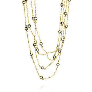 Layered Bezel Golden Necklace - N01033G-C01-60IN