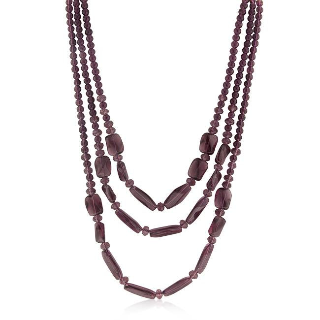 Purple Beaded Necklace - N01185R-V01