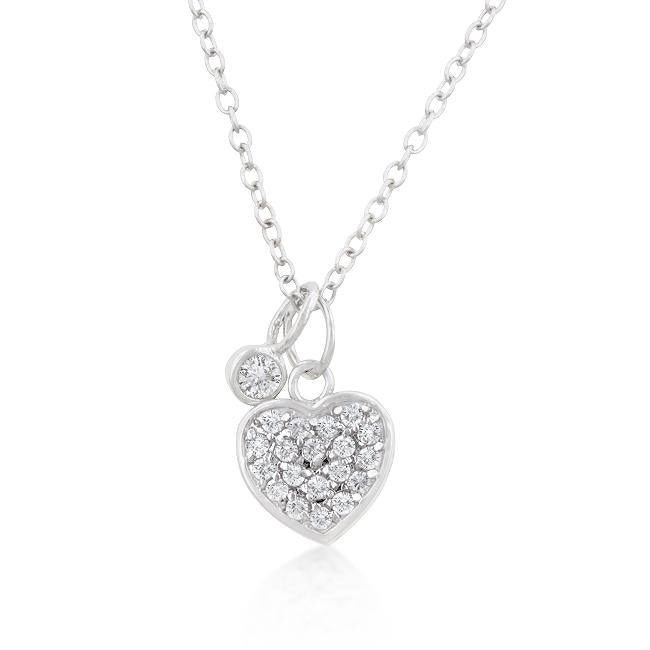 Silver Heart Charm Pave Necklace - N01190R-V01