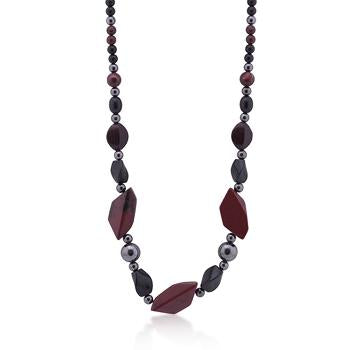 Geometric Dark Stones Necklace - N01210RW-V01