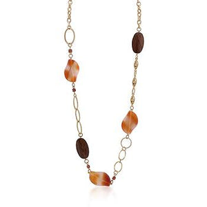Gold Chain Necklace With Warm Colored Stones - N01215GW-V01