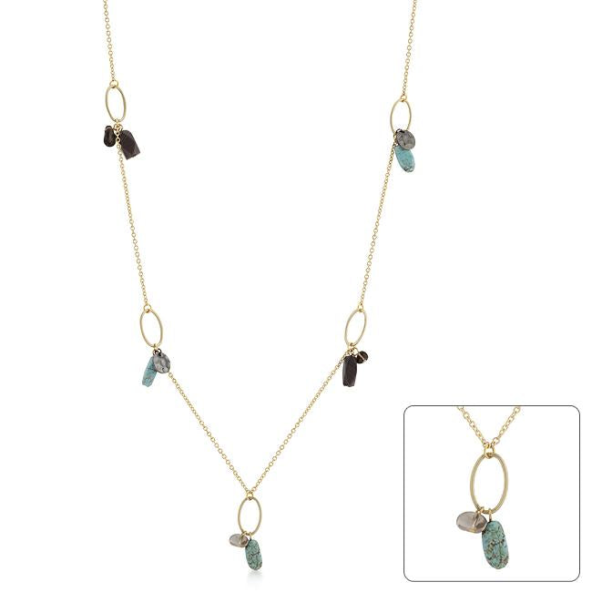 Golden Assorted Charms and Crystals Necklace - N01241GW-V01