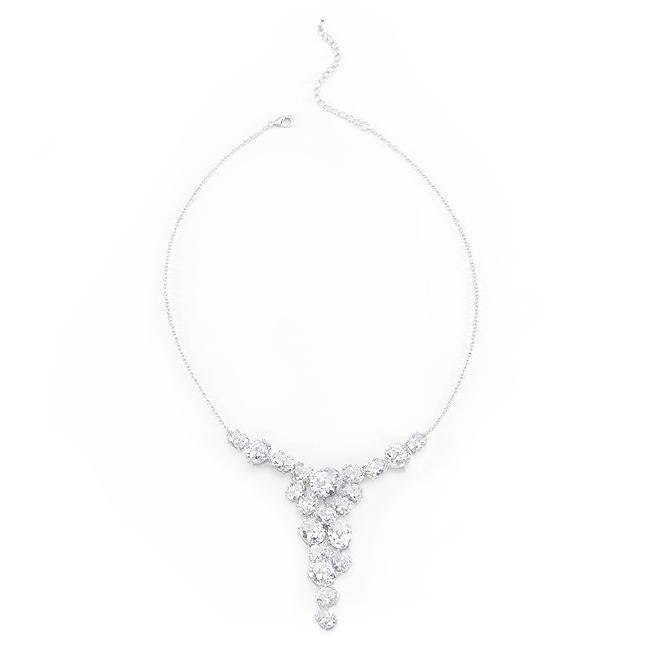 Bejeweled Cubic Zirconia Bib Necklace - N01279R-C01