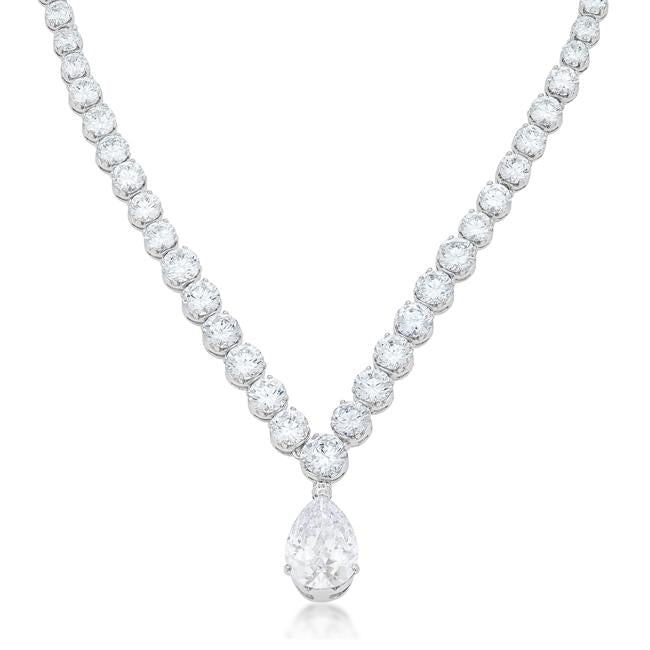 Bejeweled Cubic Zirconia Pear Drop Necklace - N01289R-C01