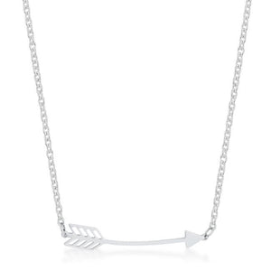 Arianna Rhodium Stainless Steel Arrow Necklace - N01313RV-V00