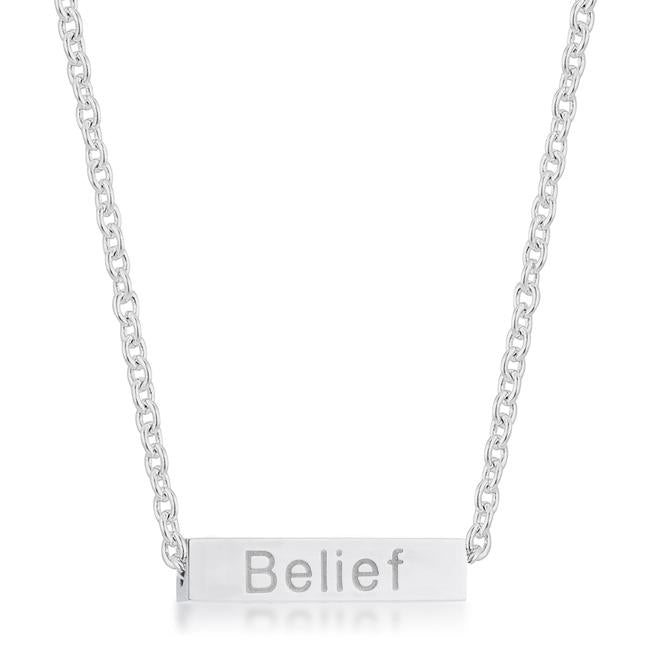 Luck Rhodium Stainless Steel Bar Script Necklace - N01314RV-V00