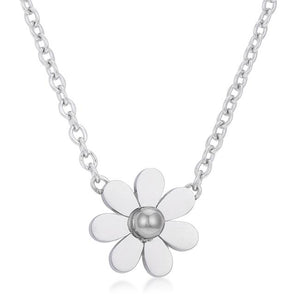 Daisy Rhodium Delicate White Floral Necklace - N01315RV-V00