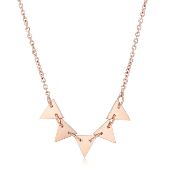 Trisa Rose Gold Stainless Steel Delicate Triangle Set Necklace - N01318AV-V00