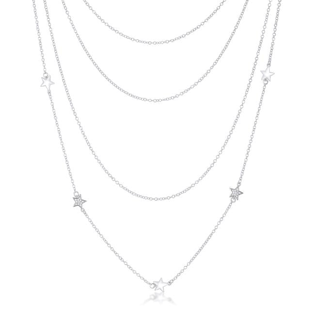 Multi-Chain Rhodium Star Necklace with CZ - N01326R-C01