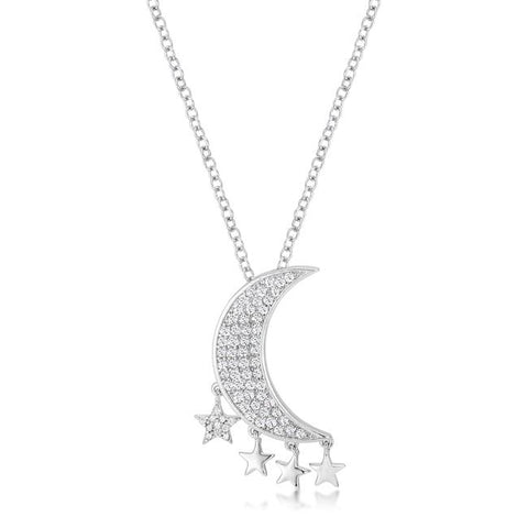 .6Ct Dazzling Rhodium Moon and Stars Necklace with CZ - N01328R-C01