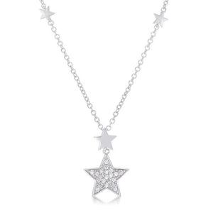Rhodium Star Necklace with Shimmering CZ .32Ct - N01329R-C01